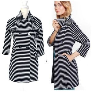 CABI Maritime Blue & White Stripe Trench Coat